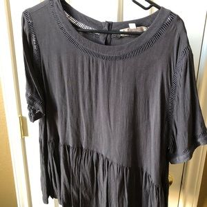 Loft Navy Blue Peplum Shirt Sleeve top